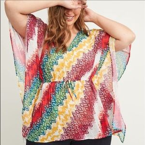 Lane Bryant printed colorful chiffon top
